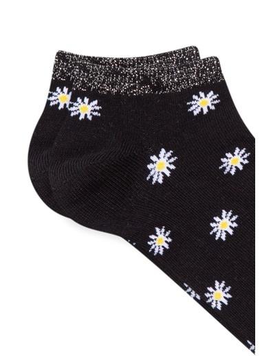 Mavi Papatya Desenli  Patik Çorap Siyah